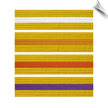 Yellow Martial Arts Rank Belt with Colored Stripe