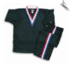 8 oz V-Neck Team Uniform - Black with Red, White & Blue Stripes