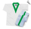 8 oz Middleweight V-Neck Martial Arts Uniform - White with Green Trim (SKU: 205-WG)