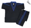 8 oz V-Neck Team Uniform - Black with Blue Double Stripes