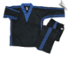 8 oz V-Neck Team Uniform - Black with Blue Triple Stripes