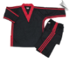 8 oz V-Neck Team Uniform - Black with Red Triple Stripes