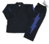 8 oz V-Neck Team Uniform - Black with Blue Lightning