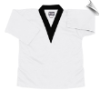 8.5 oz V-Neck Martial Arts Top - White with Black (SKU: 6500-WB)