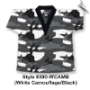 8.5 oz V-Neck Martial Arts Top - White Camo with Black (SKU: 6500-WCAMB)