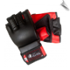 Artificial Leather MMA Fight Gloves - Black/Red (SKU: 108-BR)