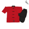 8 oz Middleweight Kung Fu Uniform - Red and Black (SKU: 1340)