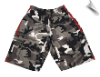 Martial Arts Cargo Shorts - White Camo With Red Stripes